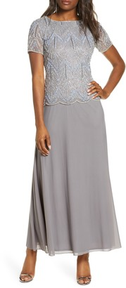 Pisarro Nights Beaded Bodice Chiffon Gown