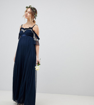 Maya Maternity Cold Shoulder Sequin Detail Tulle Maxi Dress With Ruffle Detail
