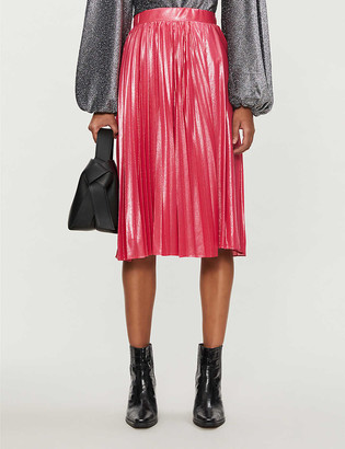 Pinko Obbedire metallic high-waist crepe midi skirt
