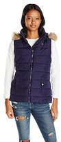 U.S. Polo Assn. Women's Long Vest with Faux Fur Trimmed Hood