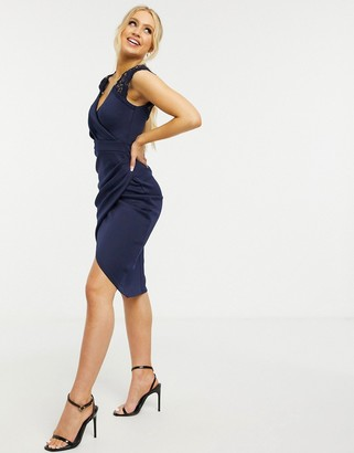 Lipsy wrap front cap sleeve midi dress with lace panels in navy