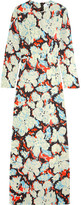 MSGM Printed Twill Gown - Light blue