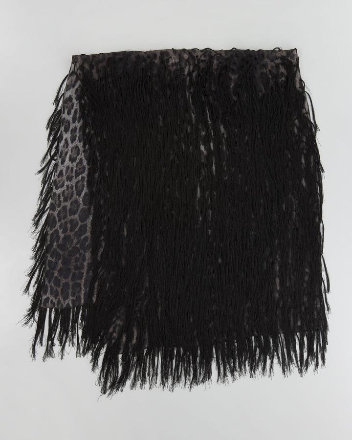 Roberto Cavalli Fringed Leopard-Print Scarf, Black