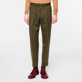 Paul Smith Men's Khaki Cotton-Linen Twill Tapered Trousers