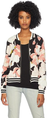 Cupcakes And Cashmere Women's Adrienne Floral Print Bomber Jacket