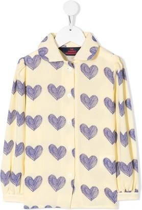 The Animals Observatory Heart Print Long-Sleeve Shirt