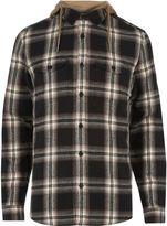 River Island Mens Beige check hooded shirt