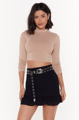 Nasty Gal Womens Crop It Low High Neck Sweater - Stone