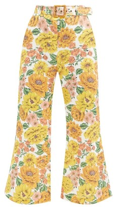 Zimmermann Belted Poppy-print Linen Flared-leg Trousers - Yellow Print
