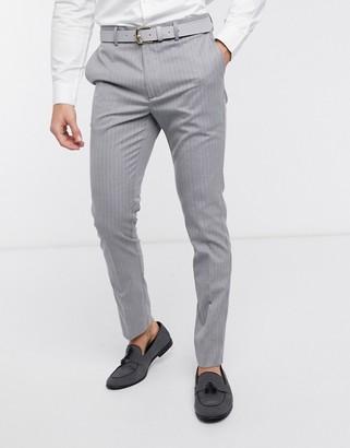 New Look pinstripe skinny suit pant in grey