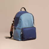 Burberry Leather And House Check Trim Technical Backpack, Blue