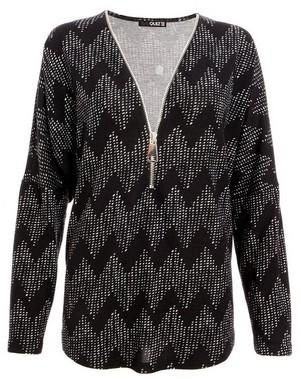 Dorothy Perkins Womens *Quiz Black Knit Abstract Print Zip Front Top, Black