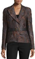 Donna Karan Narrow Belted Jacket, Charcoal/Auburn