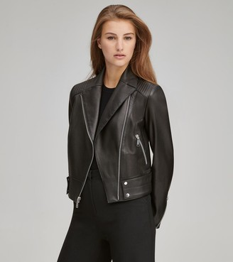 Andrew Marc   Final Sale Paley Pebble Leather Moto Jacket
