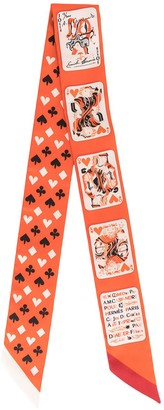 Hermes Pre-Owned card print Twilly scarf