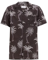 Onia - Vacation Cuban Collar Palm Print Modal Blend Shirt - Mens - Black