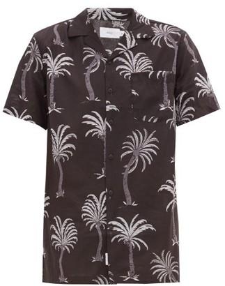 Onia Vacation Cuban-collar Palm-print Modal-blend Shirt - Mens - Black