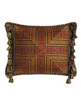 "Sweet Dreams Exotica Crimson & Gold Pillow with Side Tassels, 15"" x 20"""