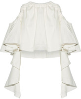 Ellery Baby Cropped Ruffled Cotton-blend Top - White
