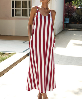Romantichut Women's Maxi Dresses red - Red & White Stripe Side-Pocket Maxi Dress - Women