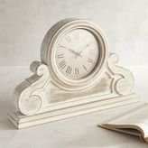 Pier 1 Imports Antiqued White Wooden Desk Clock