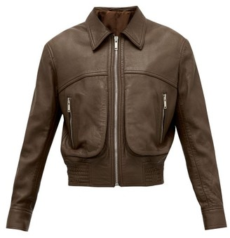 Lemaire Spread-collar Leather Jacket - Mens - Brown