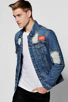 boohoo Distressed Denim Jacket With Back Print mid blue