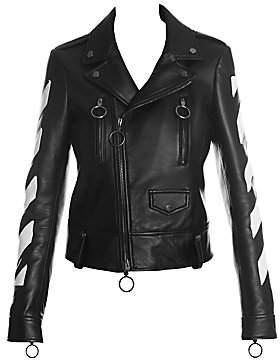 Off-White Women's Diag Leather Biker Jacket