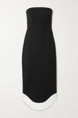 Brandon Maxwell Strapless Wool Midi Dress - Black