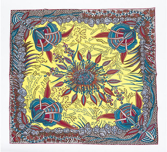 One Kings Lane Vintage Hermes Flowers of South Africa Scarf - Vintage Lux - yellow/blue/red