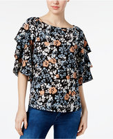 Charter Club Floral-Print Tiered-Sleeve Top, Only at Macy's
