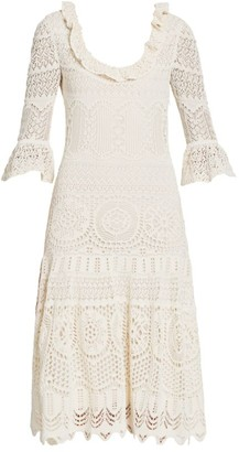 Alexander McQueen Lace Knit Midi Dress