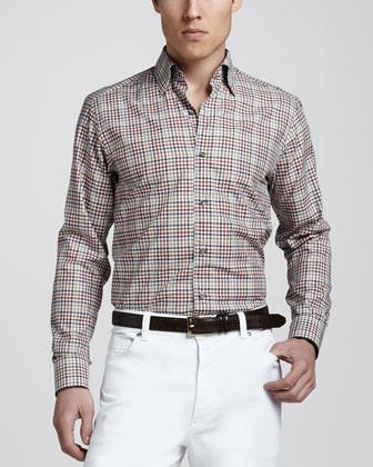 Ermenegildo Zegna Plaid Sport Shirt, Multicolor