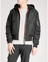 Sandro Hooded Satin Padded Bomber Jacket
