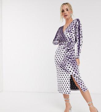 ASOS DESIGN Petite wrap belted midi dress in lilac spot velvet