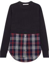 Veronica Beard Garrett Ribbed Merino Wool And Checked Cotton-blend Gauze Sweater - Navy