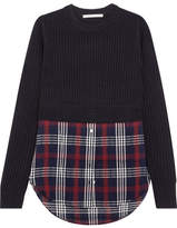 Veronica Beard Garrett Ribbed Merino Wool And Checked Cotton-blend Gauze Sweater