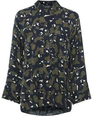 Mellow Concept - Carmen Shirt Army Print - S