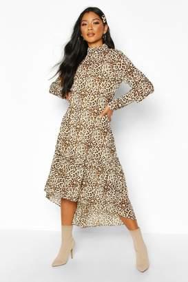 boohoo Woven Leopard High Neck Midaxi Dress