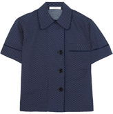 Araks Shelby Polka-dot Cotton-poplin Pajama Top - Midnight blue