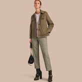 Burberry Stretch Cotton Field Jacket with Puff Sleeves