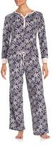 Carole Hochman Patterned Henley Top Pajama Set