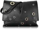 Jil Sander View Black Leather Medium Shoulder Bag w/Grommet Detail