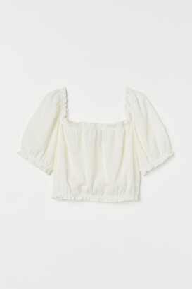 H&M Cropped Puff-sleeved Top - White