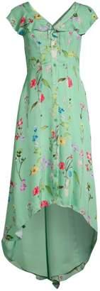 Parker Raven Floral Ruffle Front Dress