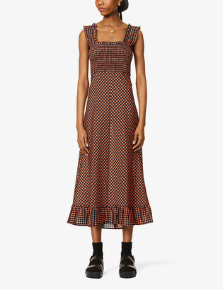 Ganni Checked seersucker recycled polyester and organic cotton-blend midi dress