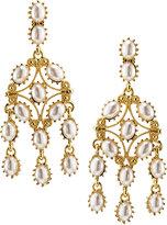 Kenneth Jay Lane Golden Pearly Statement Drop Earrings