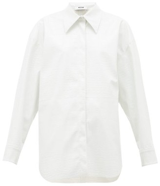 MSGM Crocodile-effect Faux-leather Shirt - White