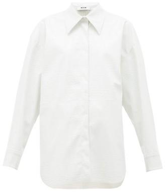 MSGM Crocodile-effect Faux-leather Shirt - Womens - White