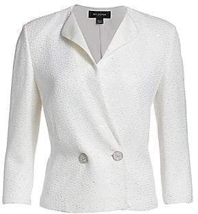 St. John Women's Sequined Evening Knit Satin Accent Blazer
